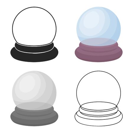 Crystal ball icon in cartoon style isolated on white background. Black and white magic symbol stock vector illustration. Illustration
