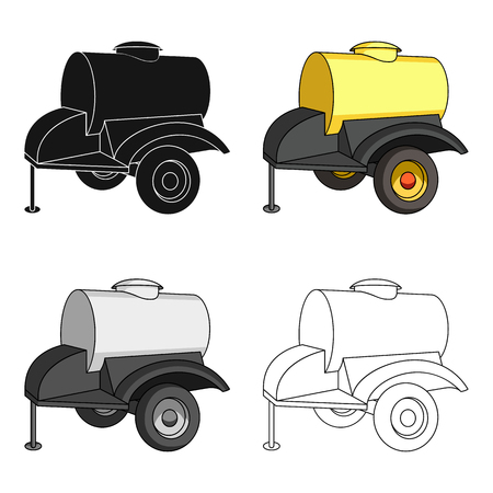 l petrol: Black trailer on wheels with yellow barrel. Agricultural machinery for watering plants.Agricultural Machinery single icon in cartoon style vector symbol stock illustration. Illustration