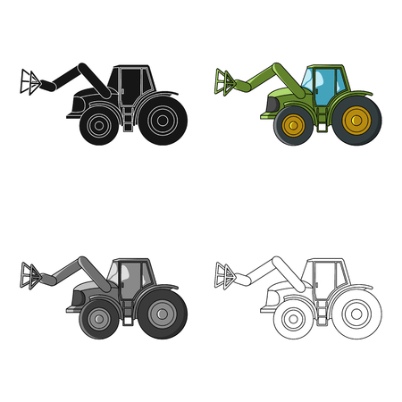 bales: Combine with long hydraulic legs to capture the hay.Agricultural Machinery single icon in cartoon style vector symbol stock illustration.