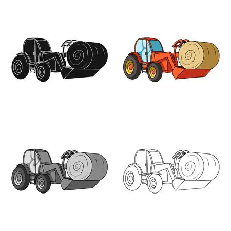 Pomarańczowy ciągnik z kadzi transportujących beli siana. Maszyny rolnicze. Maszyny rolnicze Pojedyncza ikona w stylu cartoon symbolu wektorowe stock photo.