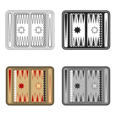 Backgammon icon in cartoon style isolated on white background. Board games symbol stock vector illustration. Illustration