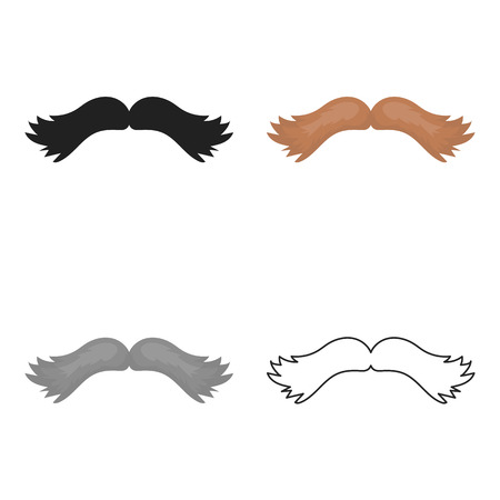 hair mask: Mans mustache icon in cartoon style isolated on white background. Beard symbol stock vector illustration