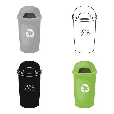 compost: Recycle garbage can icon in outline style isolated on white background. Bio and ecology symbol stock vector illustration. Illustration