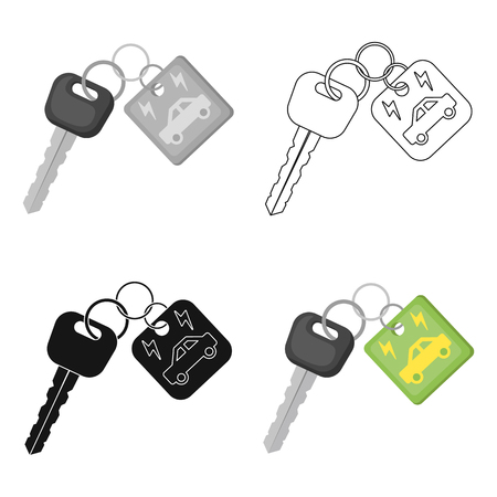 Key from eco car icon in outline style isolated on white background. Bio and ecology symbol stock vector illustration.