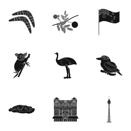 National symbols of australia. Web icon on Australia theme.Australia icon in set collection on black style vector symbol stock illustration.