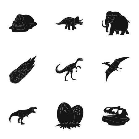 frozen meat: Ancient extinct animals and their tracks and remains. Dinosaurs, tyrannosaurs, pnictosaurs.Dinisaurs and prehistorical icon in set collection on black style vector symbol stock illustration.