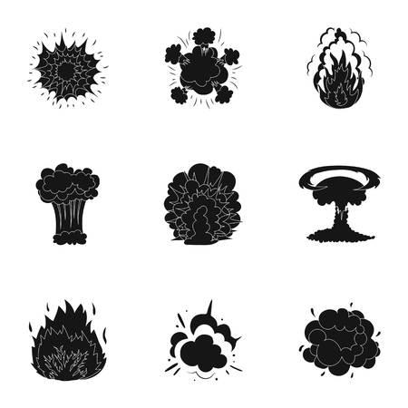 폭발에 관한 아이콘 집합. 다양 한 폭발, 연기와 구름의 구름. 검은 스타일 벡터 기호 세트 컬렉션에 컬렉션에 익스플로 션 아이콘입니다. 일러스트