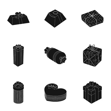 A set of pictures gifts. Gifts for different holidays, surprises. Gift packaging.Gifts and cert icon in set collection on black style vector symbol stock illustration. Illustration