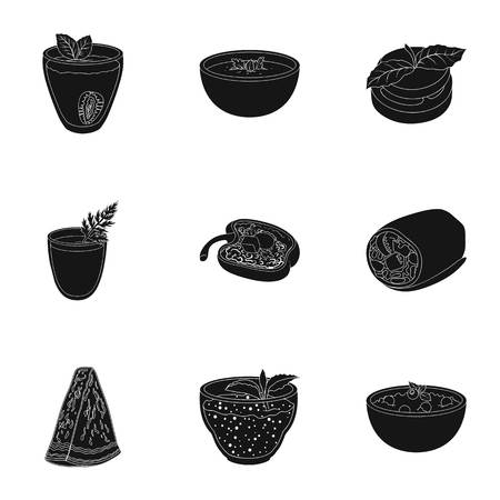 chamomile tea: Pictures about vegetarianism. Vegetarian dishes, food vegetarian. Vegetables, fruits, herbs, mushrooms. Vegetarian dishes icon in set collection on black style vector symbol stock illustration.