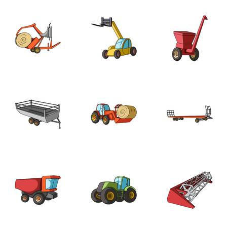 hayride: Set of pictures about agricultural machinery. Cars to robots to the ground.Agricultural Machinery icon in set collection on cartoon style vector symbol stock web illustration.