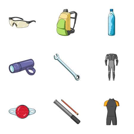 pump shoe: Icons of Cycling, bike. Set for bike, backpack protection, repair, form. Cyclist outfit icon in set collection on cartoon style vector symbol stock web illustration.