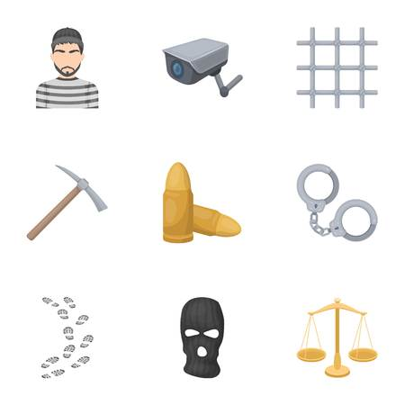 robber: Set of images about the prison and prisoners. Surveillance of thieves, court, crime and punishment.Prison icon in set collection on cartoon style vector symbol stock web illustration.
