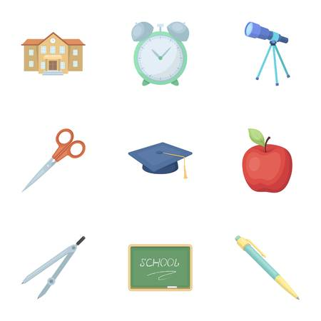 Set of pictures about the school. Study training. Supplies for school.Outfit of the student. School and eduacation icon in set collection on cartoon style vector symbol stock web illustration.