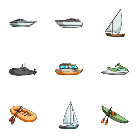 thunderstorms: Sea transport, boats, ships. To transport people, thunderstorms. Ship and water transport icon in set collection on cartoon style vector symbol stock web illustration.