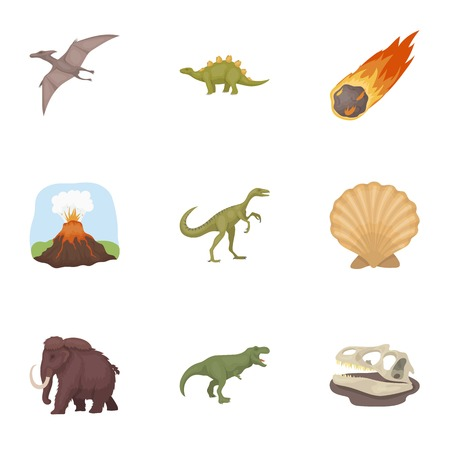 Ancient extinct animals and their tracks and remains. Dinosaurs, tyrannosaurs, pnictosaurs.Dinisaurs and prehistorical icon in set collection on cartoon style vector symbol stock illustration. Illustration