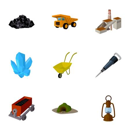 Set of icons about the mine. The extraction of coal, minerals, protection of the miners. Processing of coal.Mine industral icon in set collection on cartoon style vector symbol stock illustration.