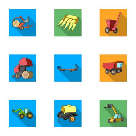 hayride: Set of pictures about agricultural machinery. Cars to robots to the ground.Agricultural Machinery icon in set collection on flat style vector symbol stock illustration.