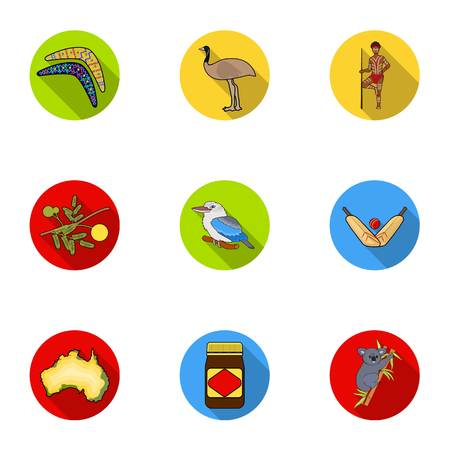 National symbols of australia. Web icon on Australia theme.Australia icon in set collection on flat style vector symbol stock illustration. Illustration