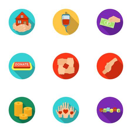 Charitable Foundation. Icons on helping people and donation.Charity and donation icon in set collection on flat style vector symbol stock illustration.