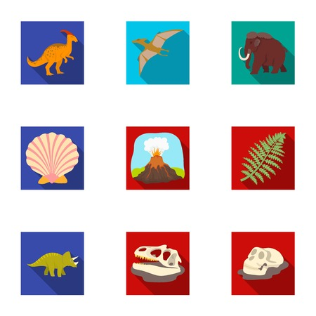 Ancient extinct animals and their tracks and remains. Dinosaurs, tyrannosaurs, pnictosaurs.Dinisaurs and prehistorical icon in set collection on flat style vector symbol stock illustration. Illustration