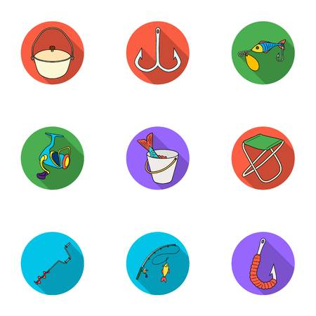 Summer and winter fishing, outdoor recreation, fishing, fish.Fishing icon in set collection on flat style vector symbol stock illustration. Stock Vector - 77139891