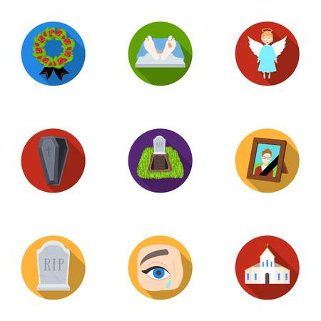 Funeral ceremony, cemetery, coffins, priest.Funeral ceremony icon in set collection on flat style vector symbol stock illustration. Illustration