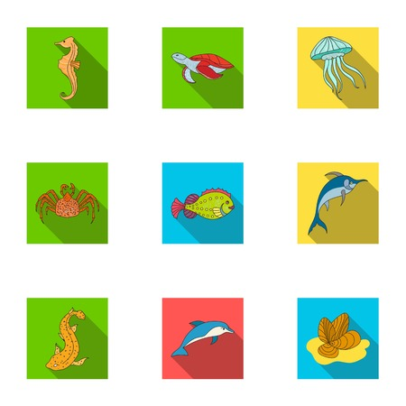 Marine and river inhabitants. Fish, whales, octopuses.Sea animals icon in set collection on flat style vector symbol stock illustration.
