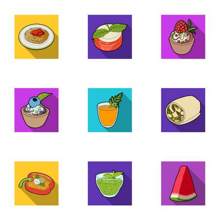 ice tea: Pictures about vegetarianism. Vegetarian dishes, food vegetarian. Vegetables, fruits, herbs, mushrooms. Vegetarian dishes icon in set collection on flat style vector symbol stock illustration.