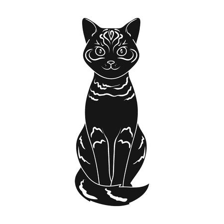 Gray cat.Animals single icon in black style vector symbol stock illustration web.
