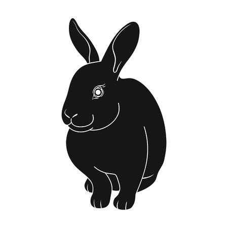 Gray rabbit.Animals single icon in black style vector symbol stock illustration web.