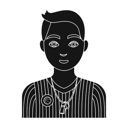 umpire: Basketball referee.Basketball single icon in black style vector symbol stock illustration web.