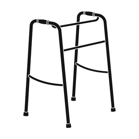 Walker for the disabled.Old age single icon in black style vector symbol stock illustration web. Ilustração