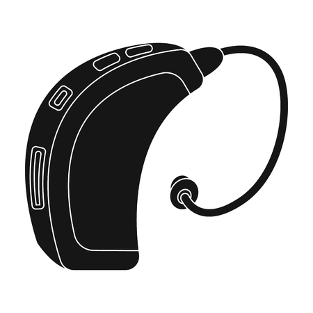 impaired: Hearing aid.Old age single icon in black style vector symbol stock illustration web.
