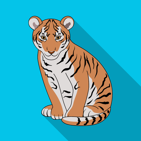 Young tiger.Animals single icon in flat style vector symbol stock illustration web.