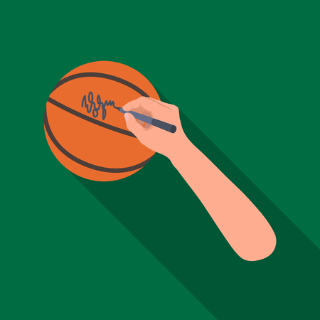 autograph: Autograph on a basket ball. Basketball single icon in flat style vector symbol stock illustration web.
