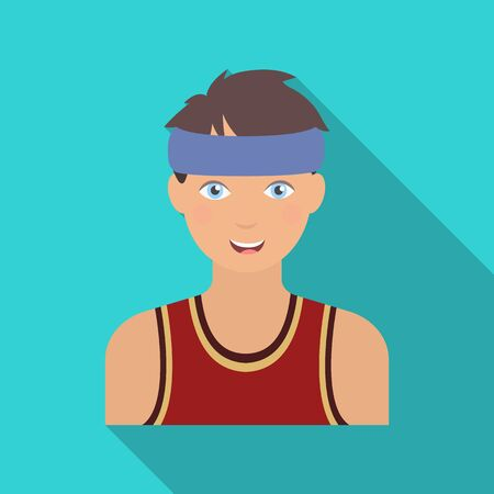 Young basketball player. Basketball single icon in flat style vector symbol stock illustration web.
