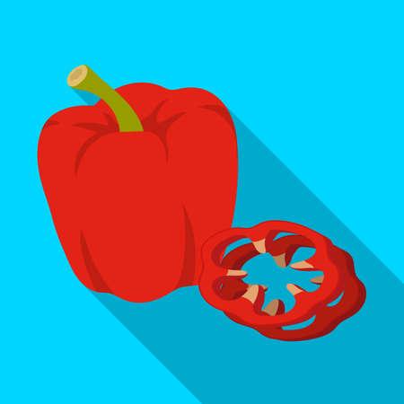 Bell pepper. BBQ single icon in flat style vector symbol stock illustration web. Illustration