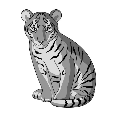 Young tiger.Animals single icon in monochrome style vector symbol stock illustration web.