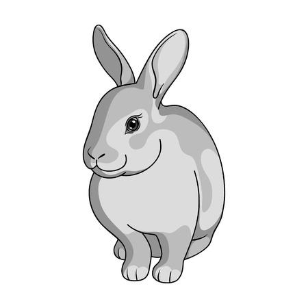 회색 토끼입니다. 미국 단색 스타일에서 단일 아이콘 벡터 기호 재고 일러스트 웹.