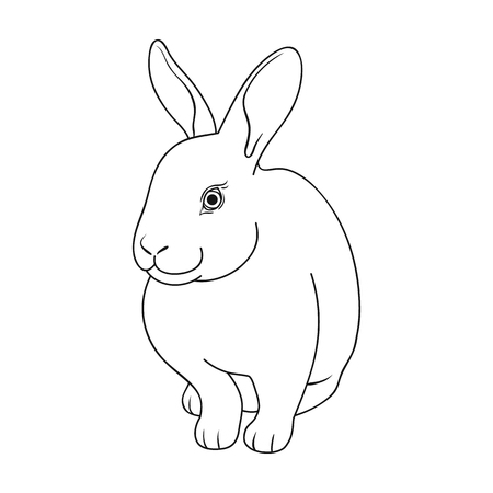 Graues Kaninchen Einzelne Ikone der Tiere im Entwurfsartvektorsymbolvorrat-Illustrationsnetz.
