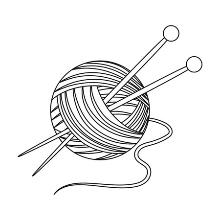 Knitting.Old age single icon in outline style vector symbol stock illustration web. Иллюстрация