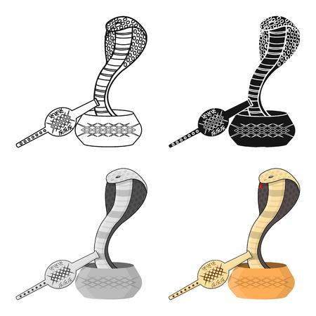 Snake and pungi icon in cartoon style isolated on white background. India symbol stock vector illustration. Illustration