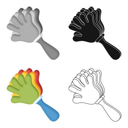 fandom: Set of attribute of the fan in the form of a hand. Fans single icon in cartoon style vector symbol stock illustration. Illustration
