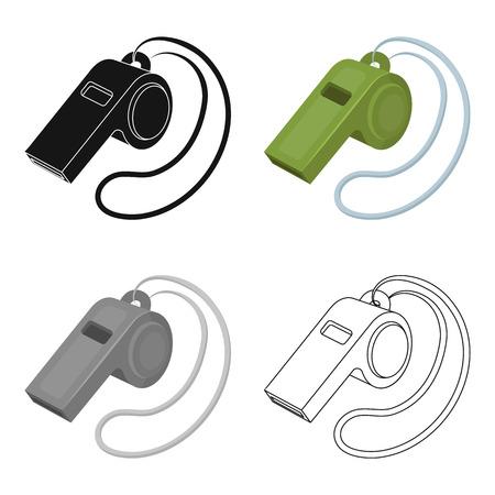 umpire: Set of whistle football fan. Fans single icon in cartoon style vector symbol stock illustration.