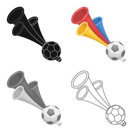 fife: Set of trumpet football fan. Fans single icon in cartoon style vector symbol stock illustration.