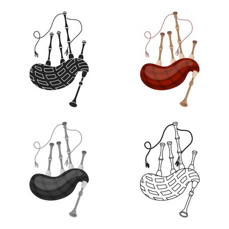 Set of bagpipes icon in cartoon style isolated on white background. Musical instruments symbol stock vector illustration
