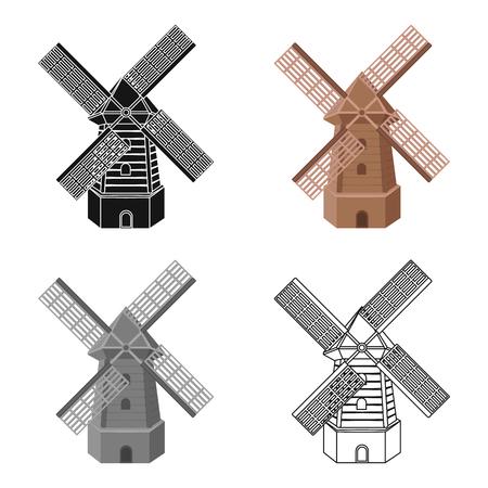 Landelijke houten molen. Molen voor het malen van graan in bloem. Boerderij en tuinieren één pictogram in cartoon stijl vector symbool stock illustratie.