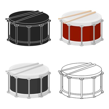 Drum icon in cartoon style isolated on white background. Musical instruments symbol stock vector illustration