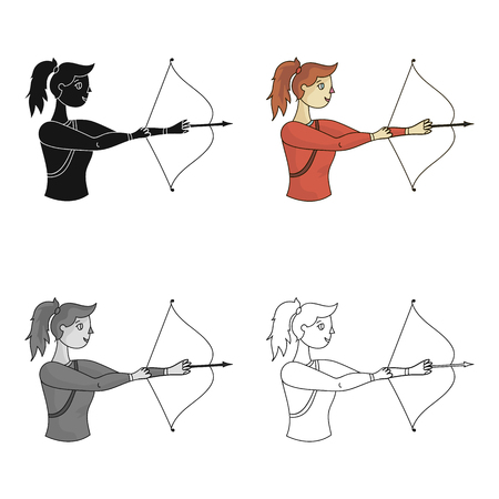 ic: Set of girl shooting a bow at a target. Olympic sports single icon in cartoon style vector symbol stock illustration.