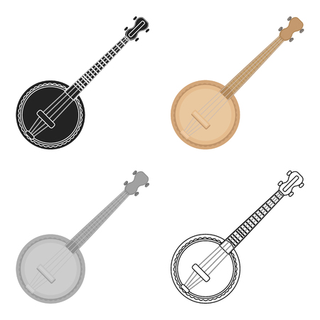 the resonator: Banjo icon in cartoon style isolated on white background. Musical instruments symbol stock vector illustration